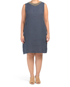 Plus Made In Italy Linen Dress With B