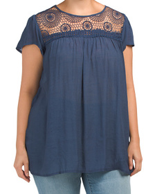 Plus Flutter Sleeve Top With Lace