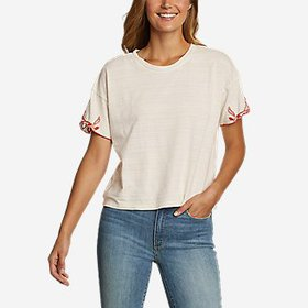 Women's Go-To Embroidered-Sleeve T-Shirt