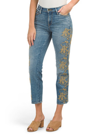 High Rise Slim Straight Embroidered