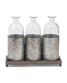 PD HOME AND GARDEN Triple Box Vase