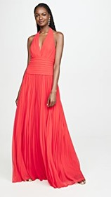 HALSTON Pleated Georgette Gown