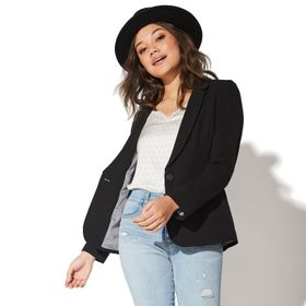Juniors' Vylette™ Rolled Sleeve One Button Jacket