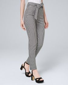 Gingham Tapered Ankle Pants with Removable Belt
