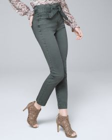 High-Rise Slim Crop Jeans with Removable Belt