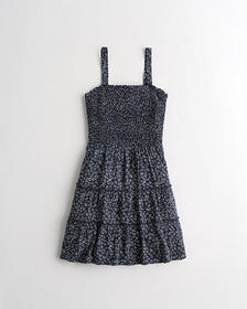 Hollister Smocked Tiered Mini Dress, NAVY FLORAL