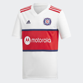 Adidas Youth Soccer White Chicago Fire Away Jersey