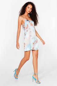 Nasty Gal Turquoise Right on Tie Dye Satin Mini Dr