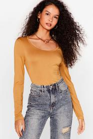 Nasty Gal Camel Out of the Scoop High-Leg Bodysuit