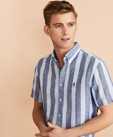 Brooks Brothers Striped Linen-Cotton Short-Sleeve