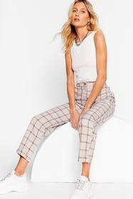 Nasty Gal Beige Grid You Know High-Waisted Tapered