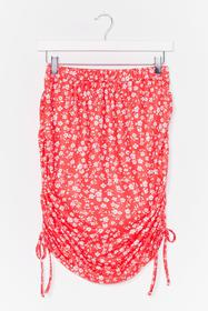 Nasty Gal Red In Floral Treat Ruched Mini Skirt