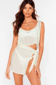 Nasty Gal Sage Beach Please Cover Up Crop Top and