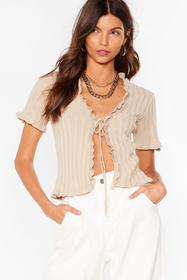 Nasty Gal Stone Short and Sweet Ruffle Tie Front C