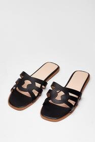 Nasty Gal Black Make Moves Cut-Out Flat Sandals