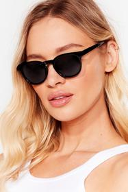 Nasty Gal Black Down to a T-Bar Round Sunglasses