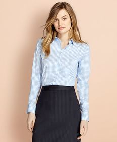 Brooks Brothers Gingham Stretch Cotton Poplin Shir