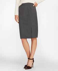 Brooks Brothers Pinstripe Stretch Wool Faux Wrap S
