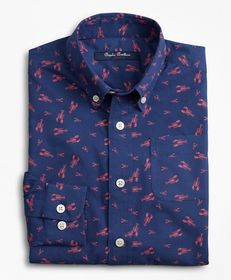 Brooks Brothers Boys Non-Iron Cotton Lobster Print