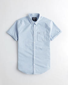 Hollister Stretch Oxford Slim Fit Shirt, LIGHT BLU