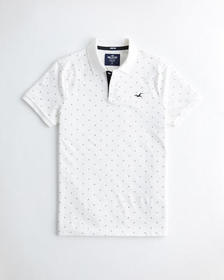 Hollister Stretch Patterned Polo, WHITE PATTERN