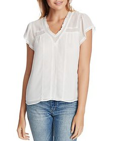 1.STATE - V-Neck Lace-Trim Blouse