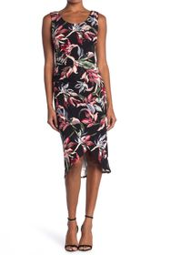 T Tahari Floral Sleeveless Tulip Hem Midi Dress
