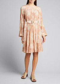 Chloe Floral Print Silk Crepe de Chine Dress