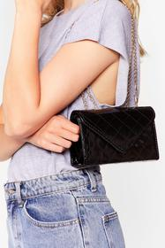 Nasty Gal Black PU PATENT QUILTED CROSSBODY BAG