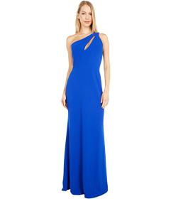 Bebe Scuba Crepe Long One Shoulder Gown