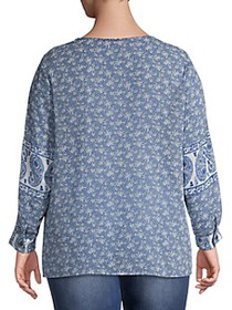 Vince Camuto Plus Mixed-Print Top