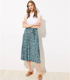 Petite Wildflower Tie Waist Midi Skirt