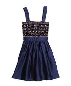 Brooks Brothers Girls Silk Sleeveless Smocked Dres