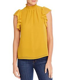 1.STATE - Smocked Flutter-Sleeve Top