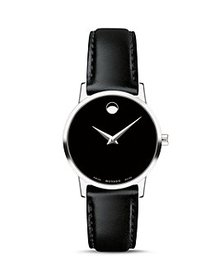 Movado - Museum Classic Black Leather Strap Watch,