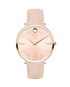 Movado - Ultra Slim Leather Strap Watch, 35mm