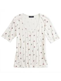 Lucky Brand Printed Pointelle Scoop Neck Tee