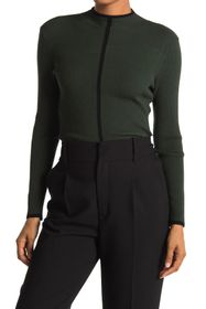 T Tahari Single Stripe Funnel Neck Pullover Sweate