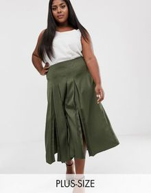 River Island Plus pleated skirt in khaki
