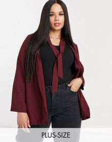 Simply Be cut out back blazer in wine