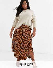 AX Paris Plus step hem midi skirt in bright zebra