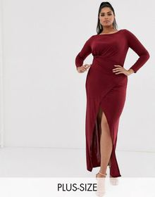 Club L London Plus long sleeve maxi dress