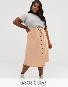 ASOS DESIGN Curve button front midi skirt with tor
