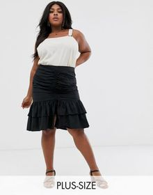 Skylar Rose Plus ruched front midi skirt