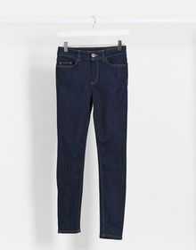 Pieces delly high waisted skinny jeans in dark blu