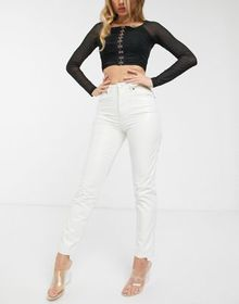 ASOS DESIGN ritson original mom jeans in white cri