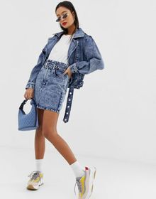 Signature 8 acid wash high-wasted belted denim min