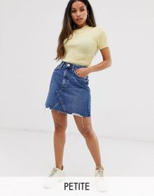 River Island Petite denim skirt with raw hem in mi