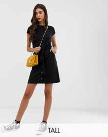 Brave Soul Tall linzi button front utility skirt