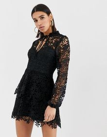 Missguided mini dress with crochet layer detail an